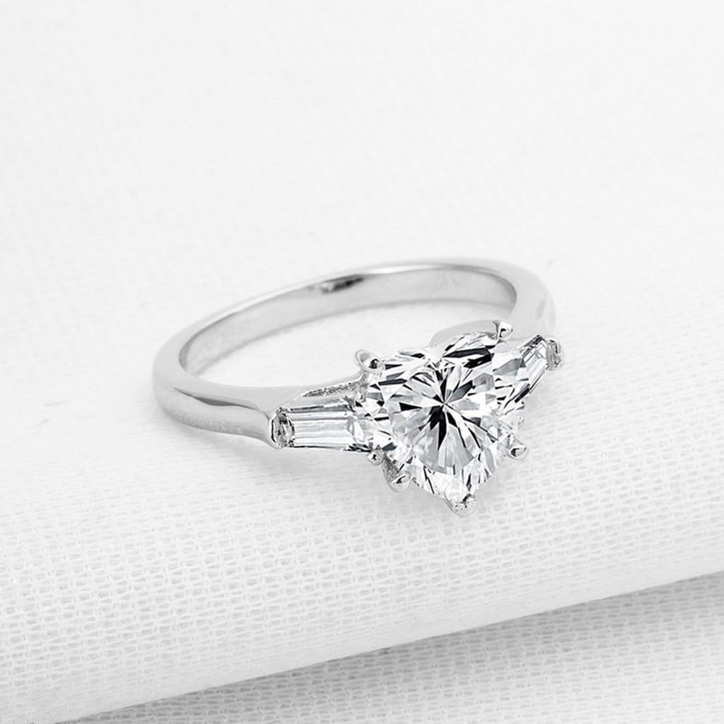 Promise Ring Women S925 Sterling Silver Rings Heart 8x8MM White Cubic Zirconia Silver 2CT Heart Engagement Rings for Women Size 4