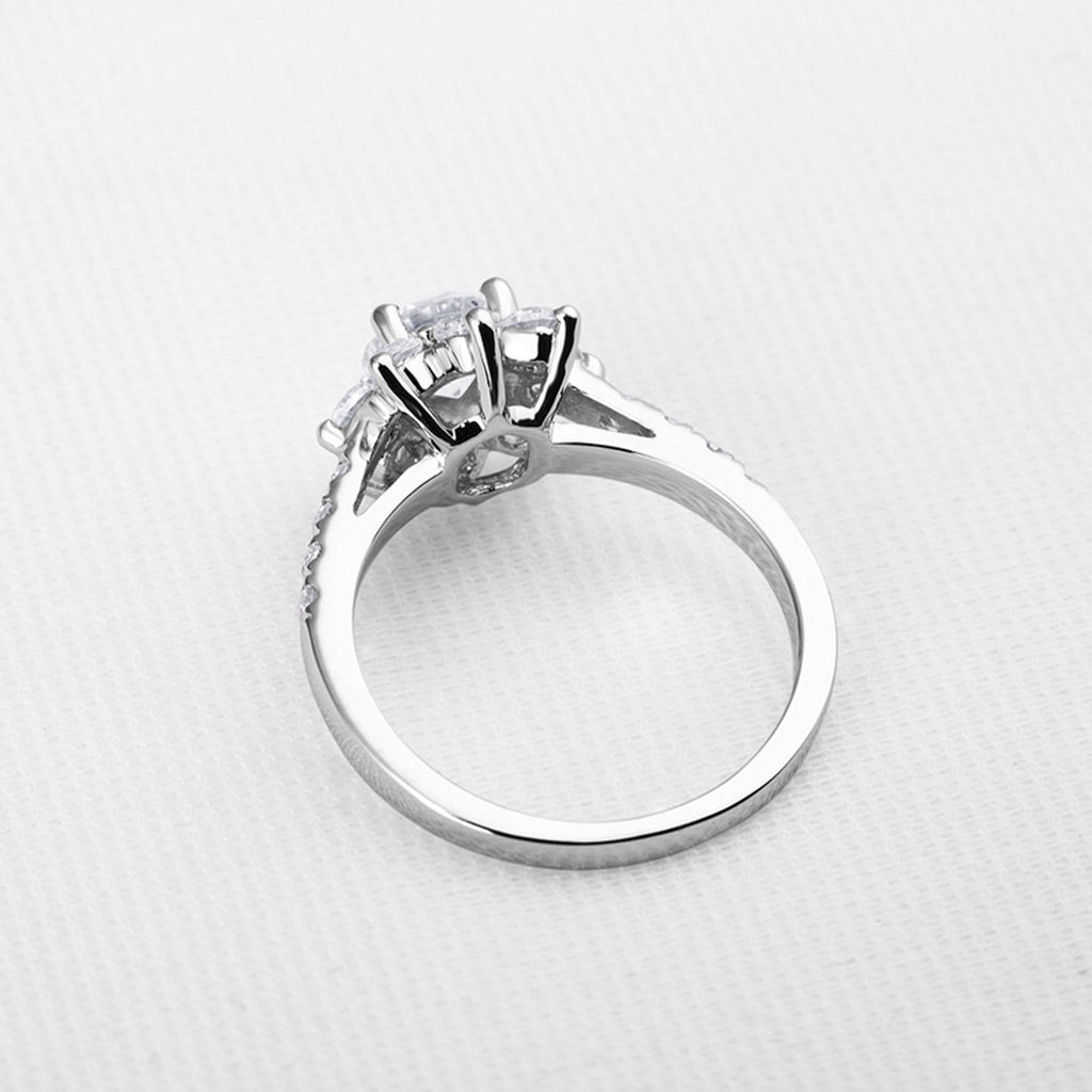 Wedding Bands Uk Womens Ring Sterling Silver Ring For Women Round Flower Cubic Zirconia Anniversary Rings Silver Ring Size 4
