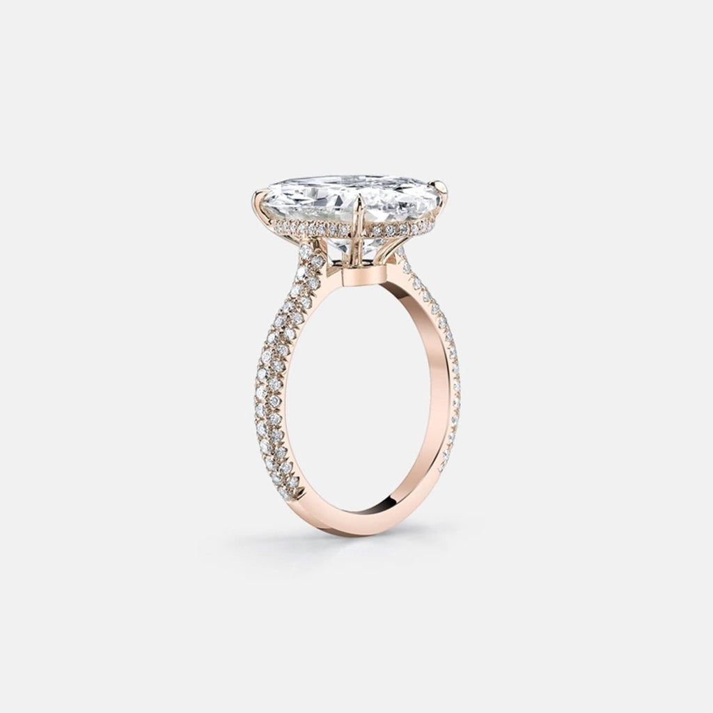 Rose Gold Ring Engagement S925 Sterling Silver Rings Oval 10x14MM White Cubic Zirconia Rose Gold 5CT Promise Rings for Women Size 4