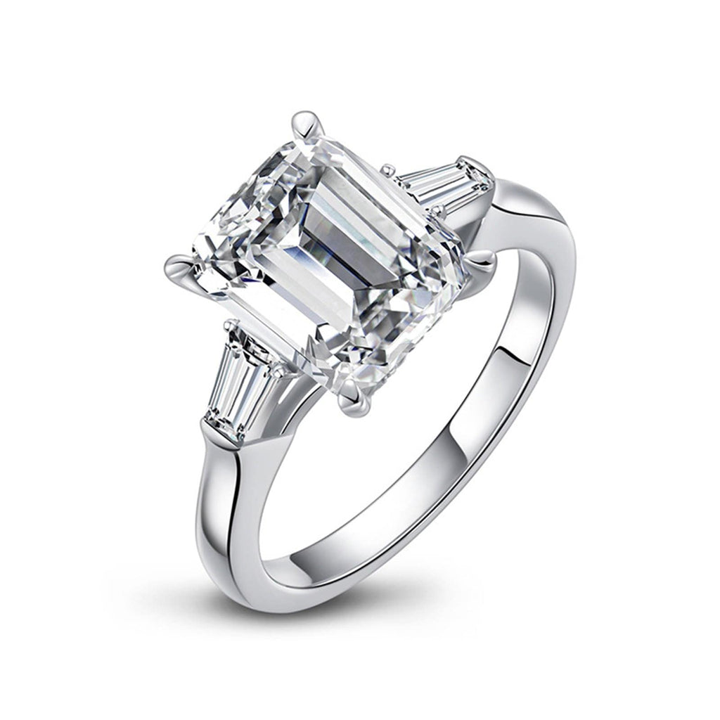 Wedding Bands Rings Womens Ring Sterling Silver Ring For Women Emerald Cut Cubic Zirconia Anniversary Rings Silver Ring Size 4