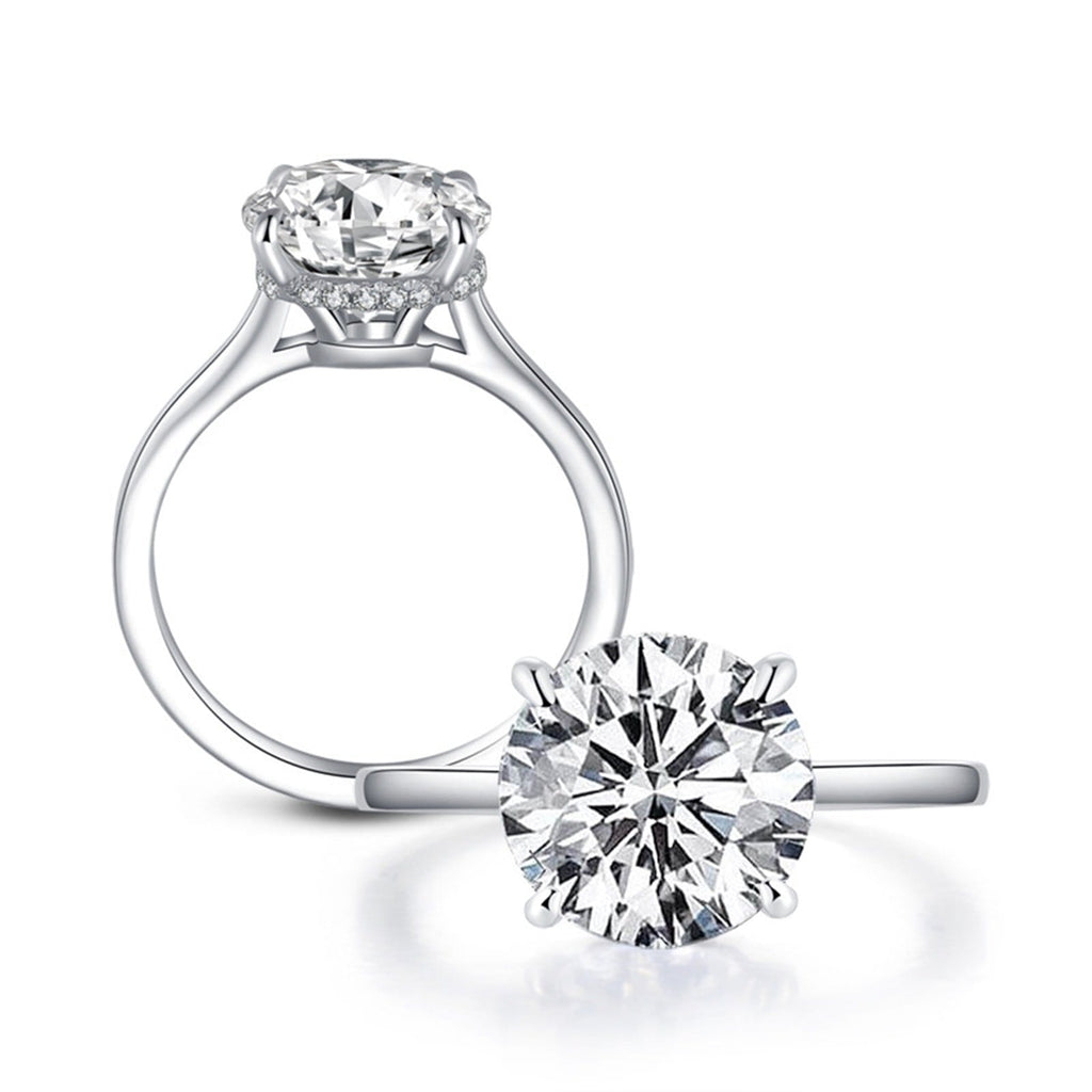 Engagement Ring For Girls S925 Sterling Silver Rings Round 10x10MM White Cubic Zirconia Silver Engagement Rings for Women Size 5