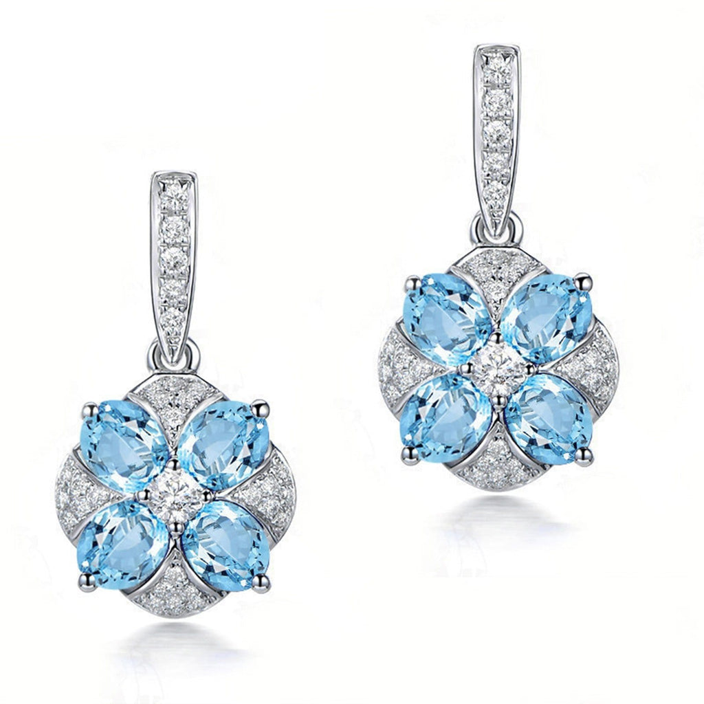 14K White Gold Topaz Dangle Earrings for Women Oval Blue Gemstone Flower