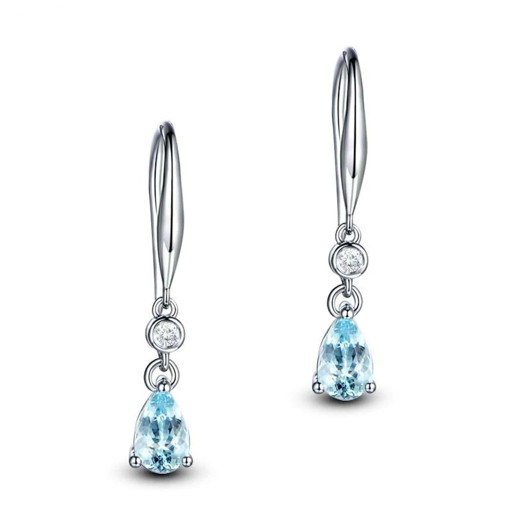 14K White Gold Topaz Teardrop Blue Gemstone Teardrop Dangle Hook Earrings