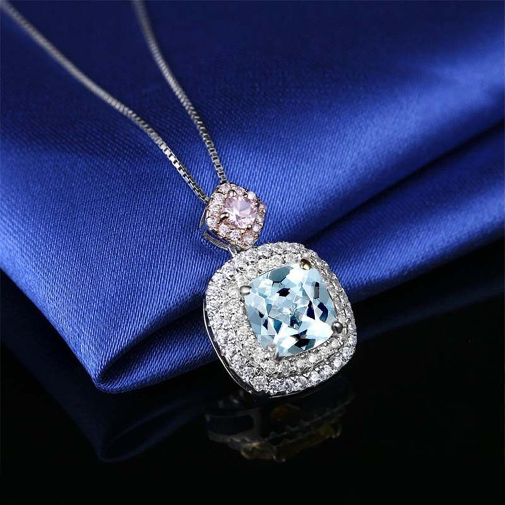 14K White Gold Topaz Pendant Necklace for Women Cushion Blue Gemstone