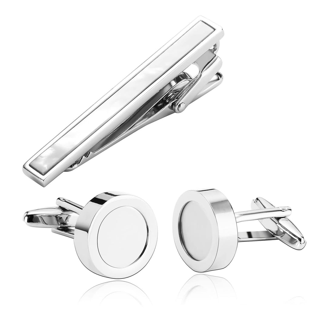 Stainless Steel Shirt Cufflinks Smooth Crystal Geometry White Mens Tie Clip and Cufflink Set 1.7x1.7CM