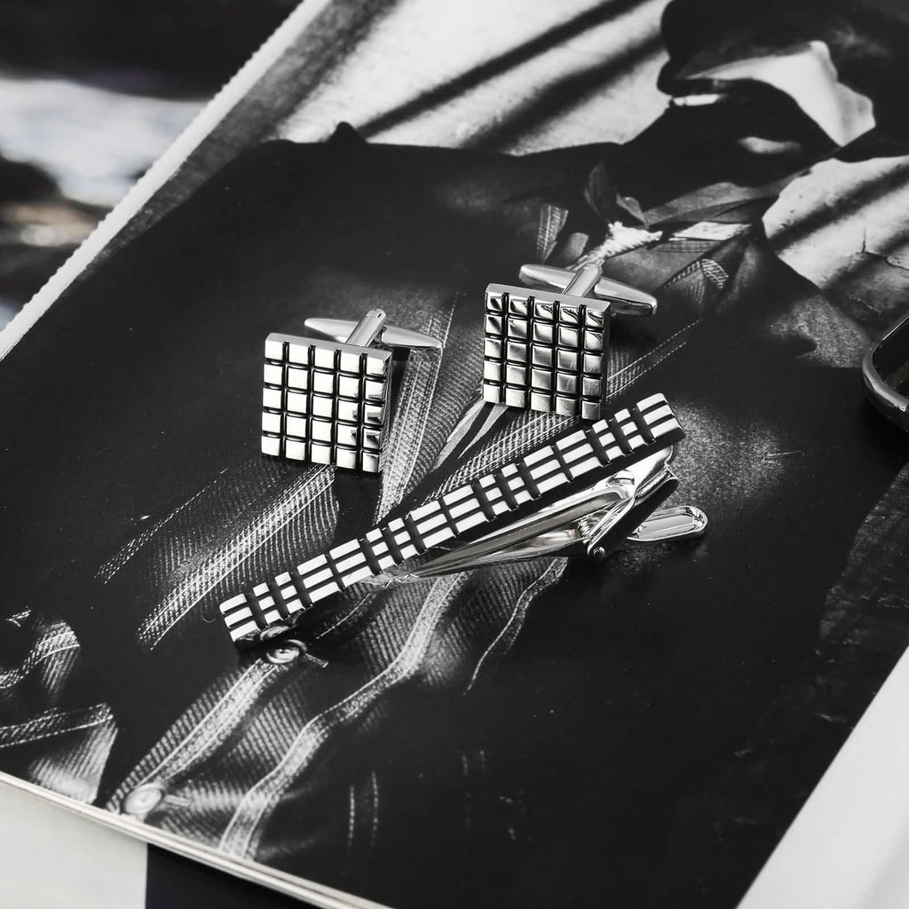 Stainless Steel Shirt Cufflinks Carved Box Pattern Geometry Silver Black Mens Tie Clip and Cufflink Set 1.6x1.6CM