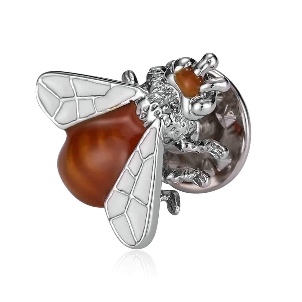 Stainless Steel Brooches Crystal Bee Insect White Orange Brooch