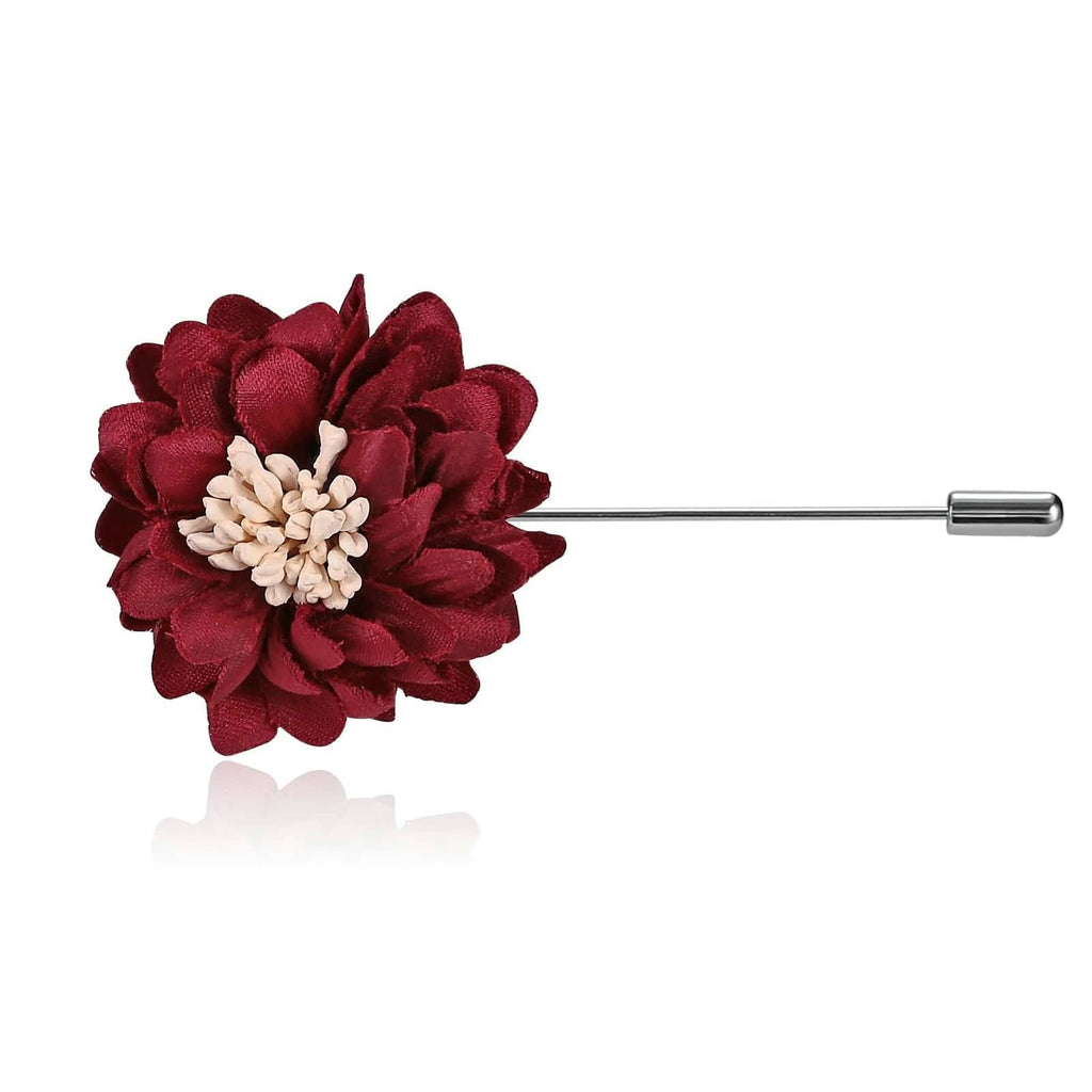 Stainless Steel Brooches Flower Stamens Handmade Boutonniere Red Brooch