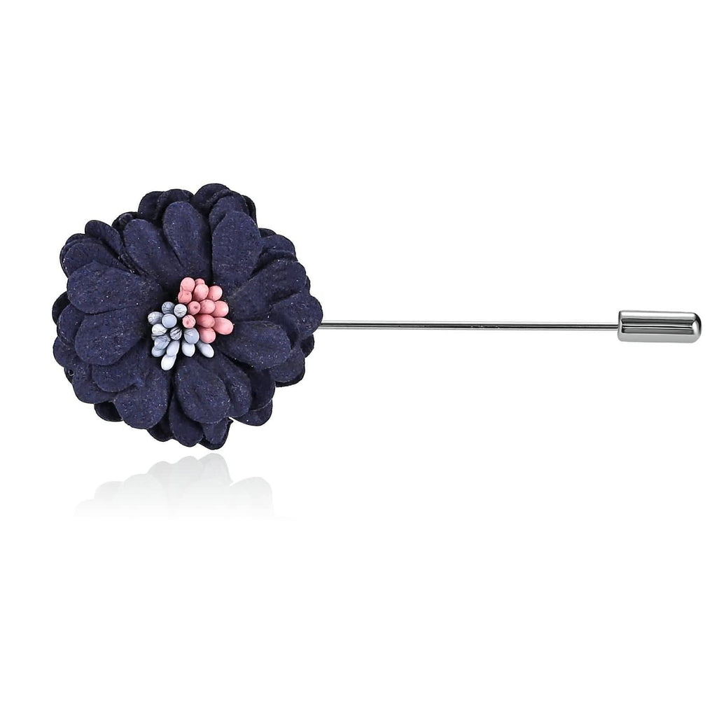 Stainless Steel Brooches Handmade Boutonniere Beaded Flower Dark Blue Brooch