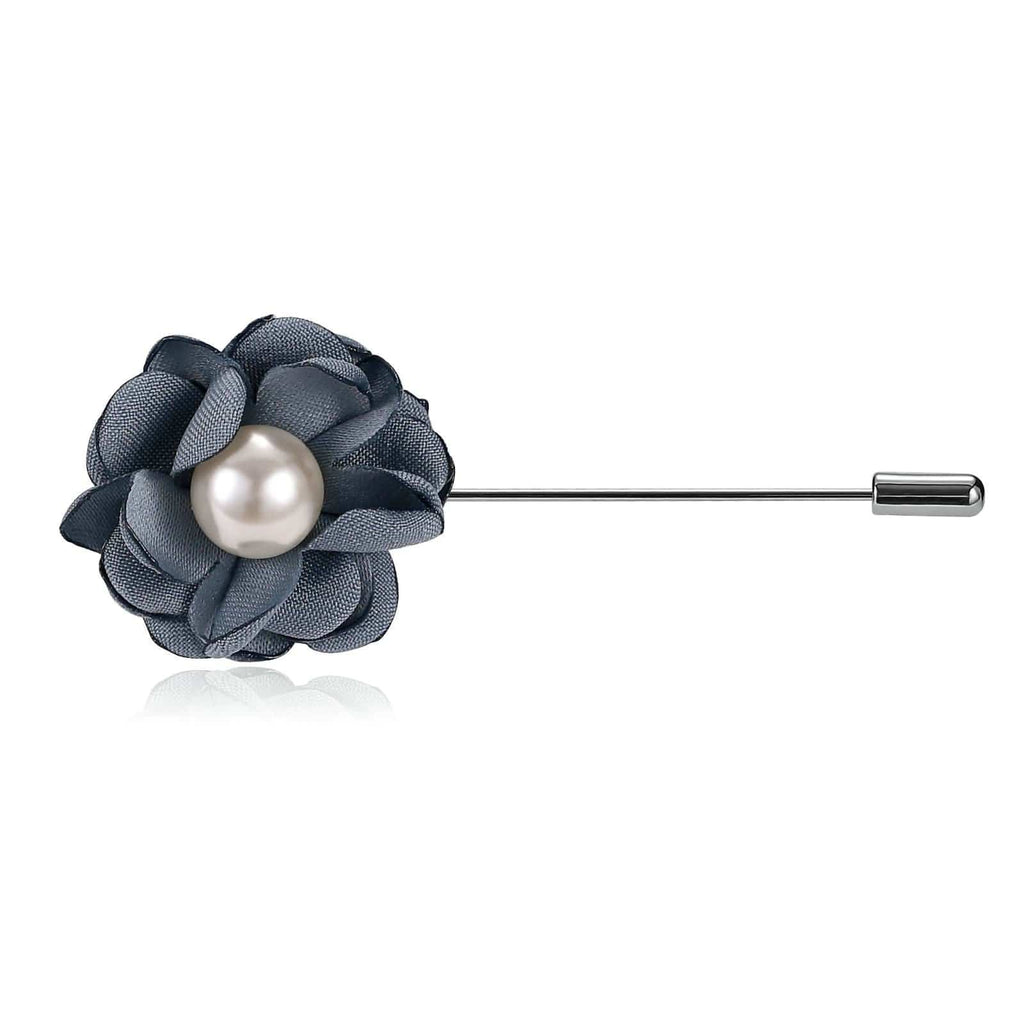 Stainless Steel Brooches Pearl Flower Handmade Boutonniere Blue Brooch