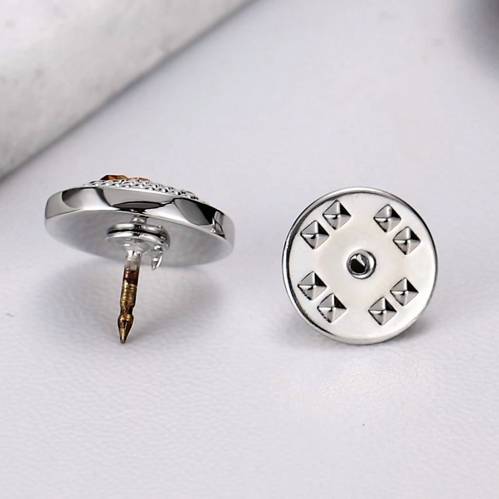 Stainless Steel Brooches Round Engraved Letter T Silver Yellow Brooch