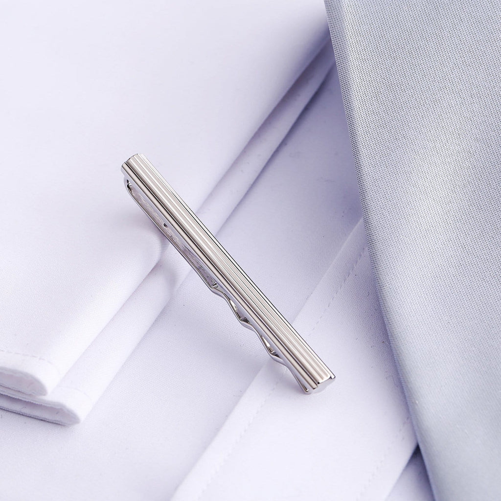 Stainless Steel Tie Clip For Men Wave Shape Silver