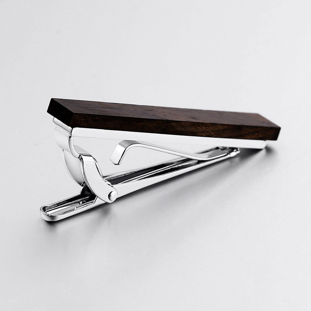 Stainless Steel Tie Clip For Men Wooden Brown