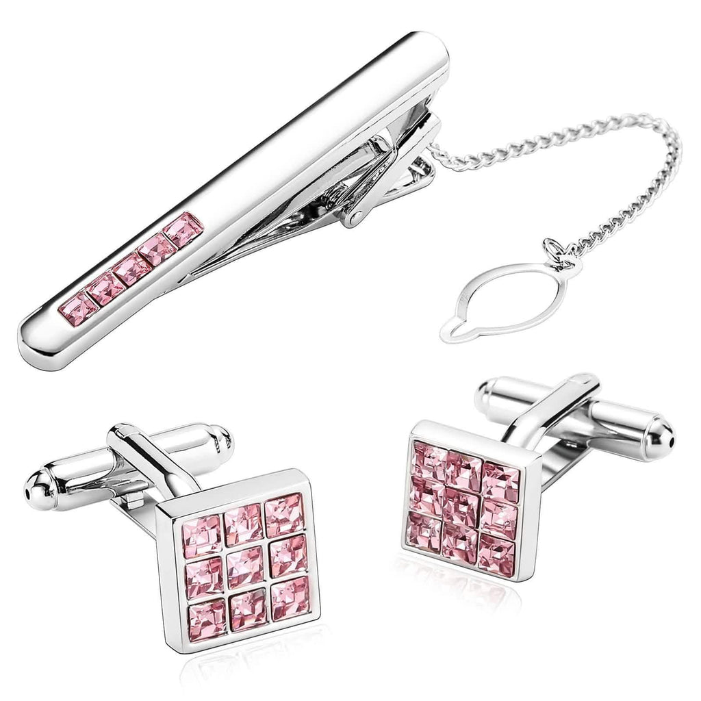 Stainless Steel Shirt Cufflinks Gorgeous Square Crystal Silver Pink Mens Tie Clip and Cufflink Set 1.1x1.1CM