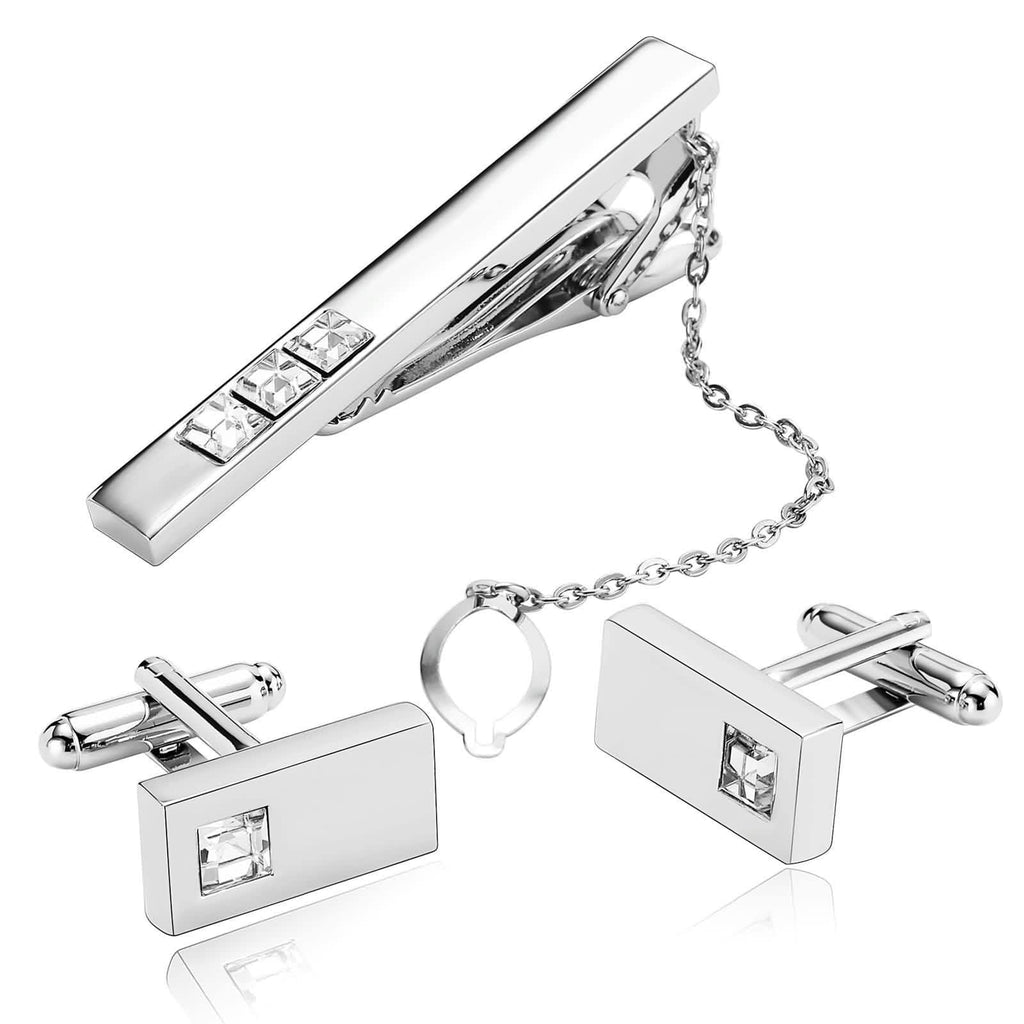 Stainless Steel Shirt Cufflinks Crystal Series Rectangle White Mens Tie Clip and Cufflink Set 1x2CM