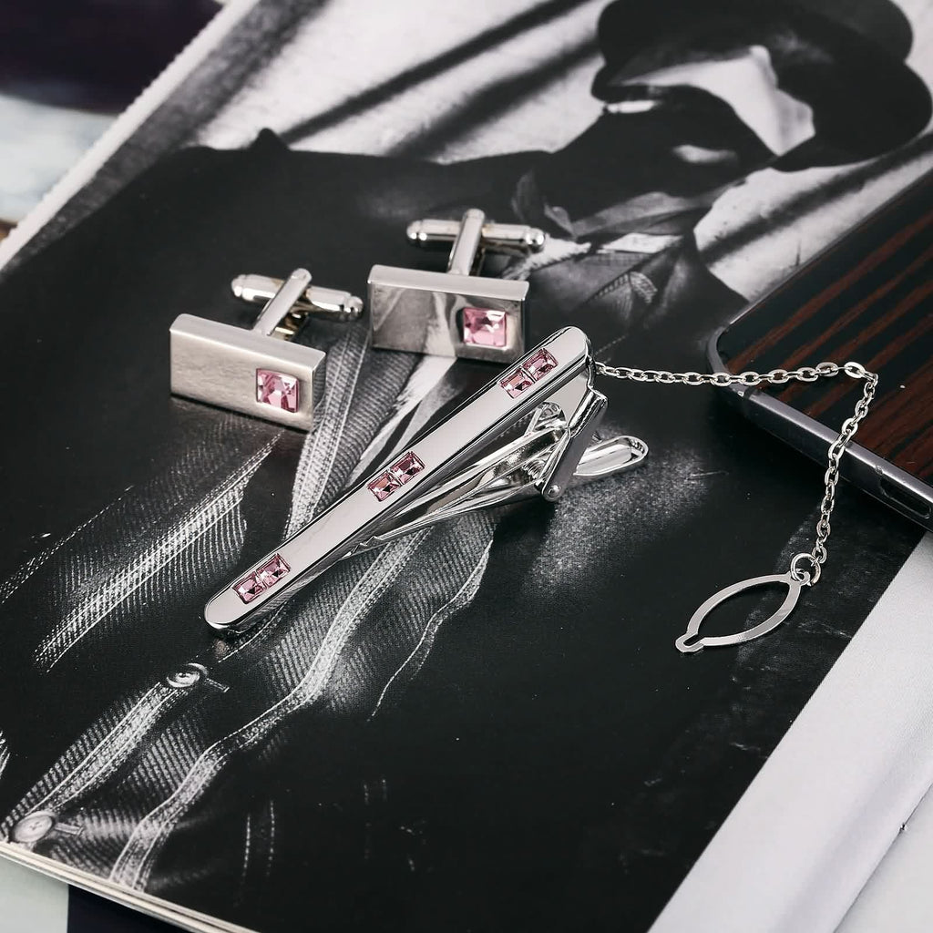 Stainless Steel Shirt Cufflinks Square Highlight Crystal Pink Mens Tie Clip and Cufflink Set 1x2CM