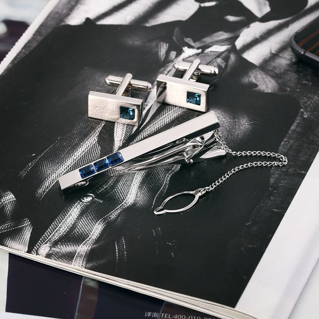 Stainless Steel Shirt Cufflinks Crystal Series Rectangle Blue Mens Tie Clip and Cufflink Set 1x2CM