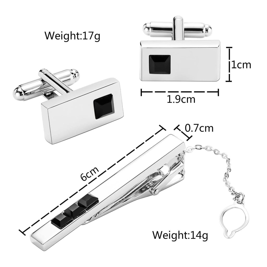 Stainless Steel Shirt Cufflinks Crystal Series Rectangle Black Mens Tie Clip and Cufflink Set 1x1.9CM