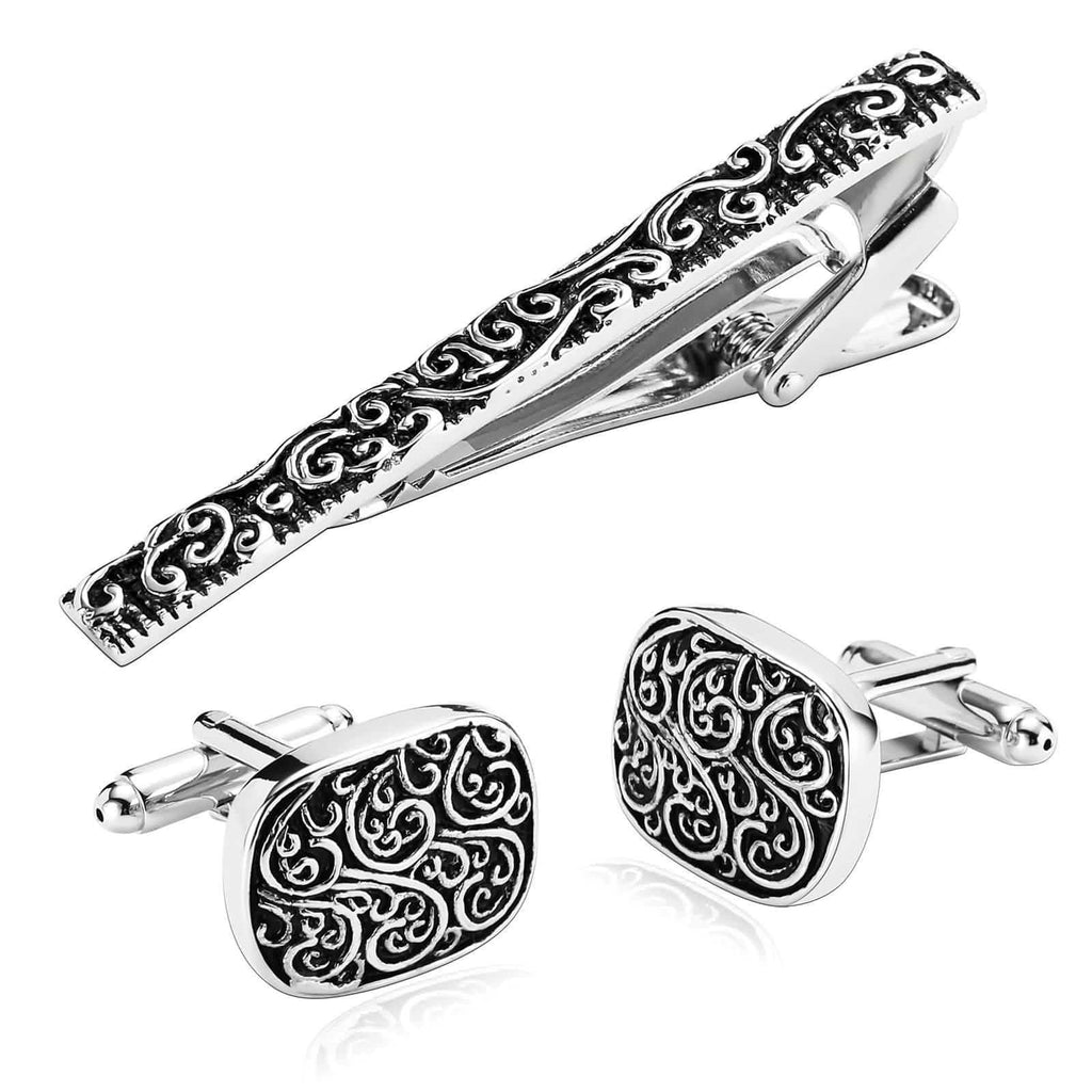 Stainless Steel Shirt Cufflinks Retro Pattern Rectangle Silver Black Mens Tie Clip and Cufflink Set 1.6x2CM