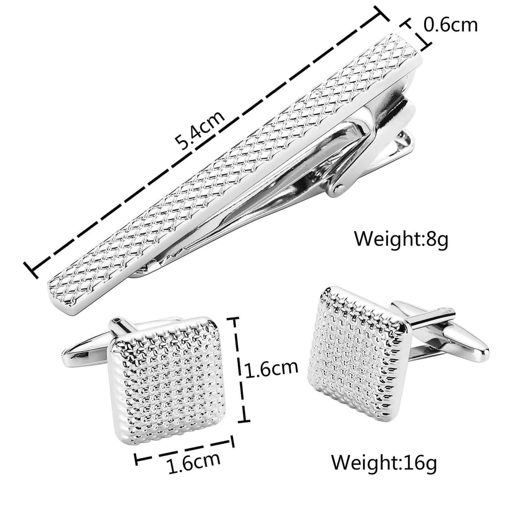 Stainless Steel Shirt Cufflinks Classic Glitter Geometry Silver Mens Tie Clip and Cufflink Set 1.6x1.6CM