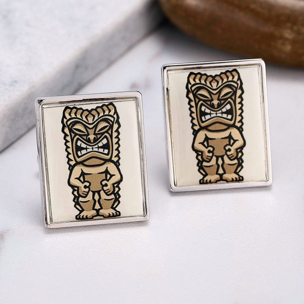 Stainless Steel Shirt Cufflinks Rectangular Enamel Cartoon Pattern Yellow Men Cufflinks