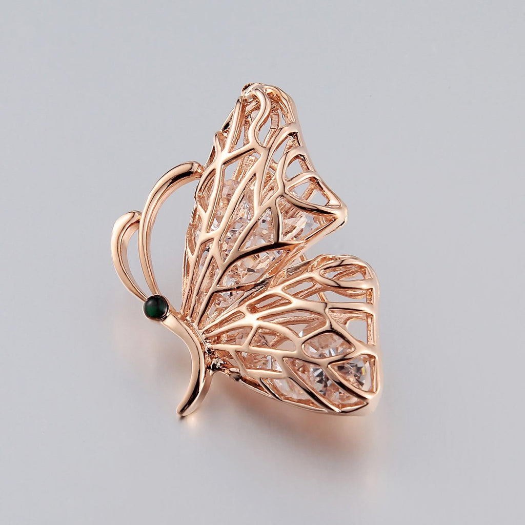 Stainless Steel Brooches For Women Butterfly Shape Hollow Rose Gold