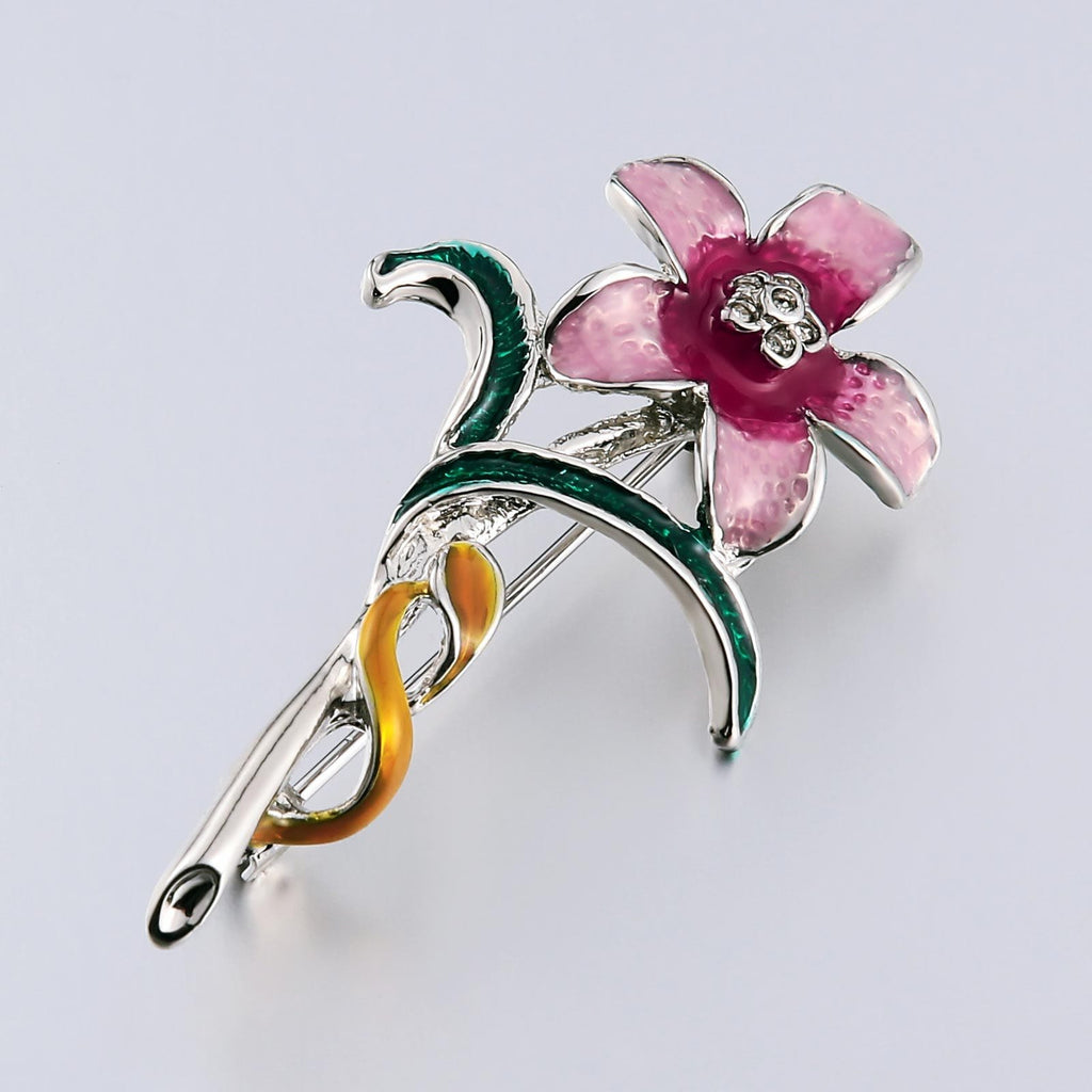Stainless Steel Brooches For Women Stereoscopic Flower Shape Color