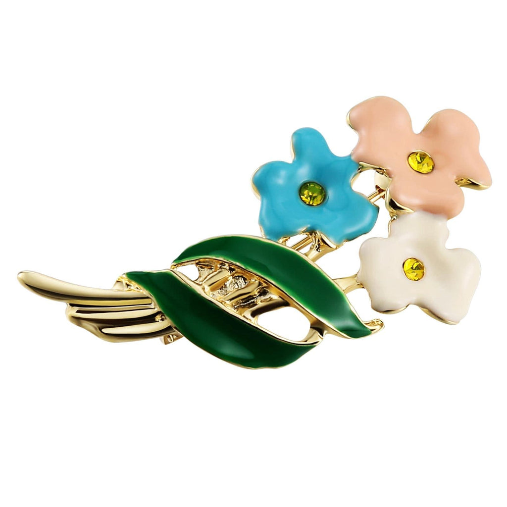 Stainless Steel Brooches For Women Flower Hollow Color