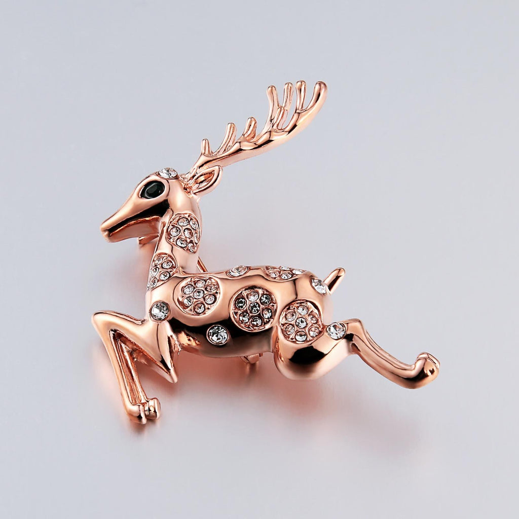Stainless Steel Brooches For Women Crystal Deer Shape Rose Gold