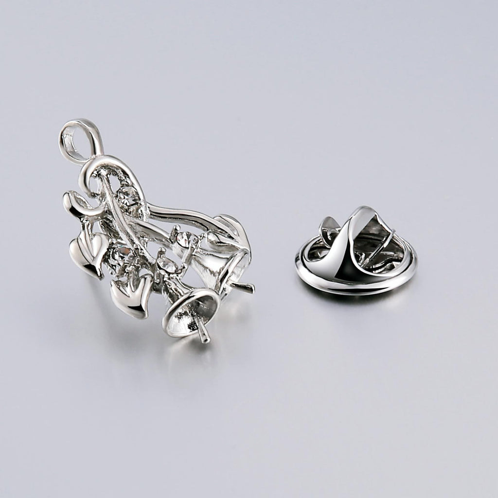 Stainless Steel Brooches For Women Trumpet Shape Silver