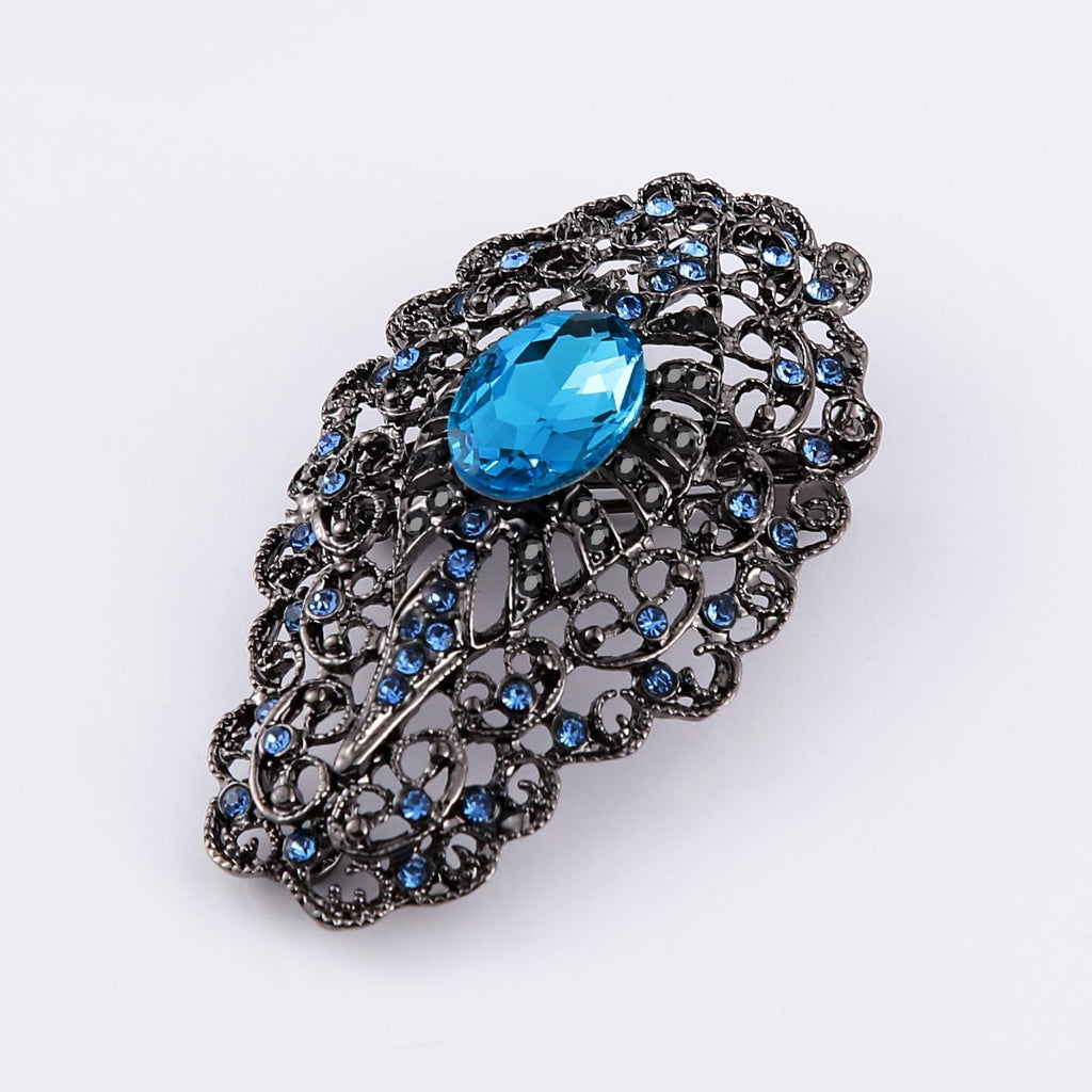 Stainless Steel Brooches For Women Crystal Water Droplets Blue