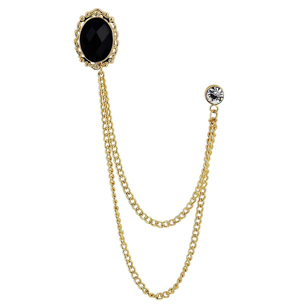 Stainless Steel Brooches For Women Crystal Hook Gold Black