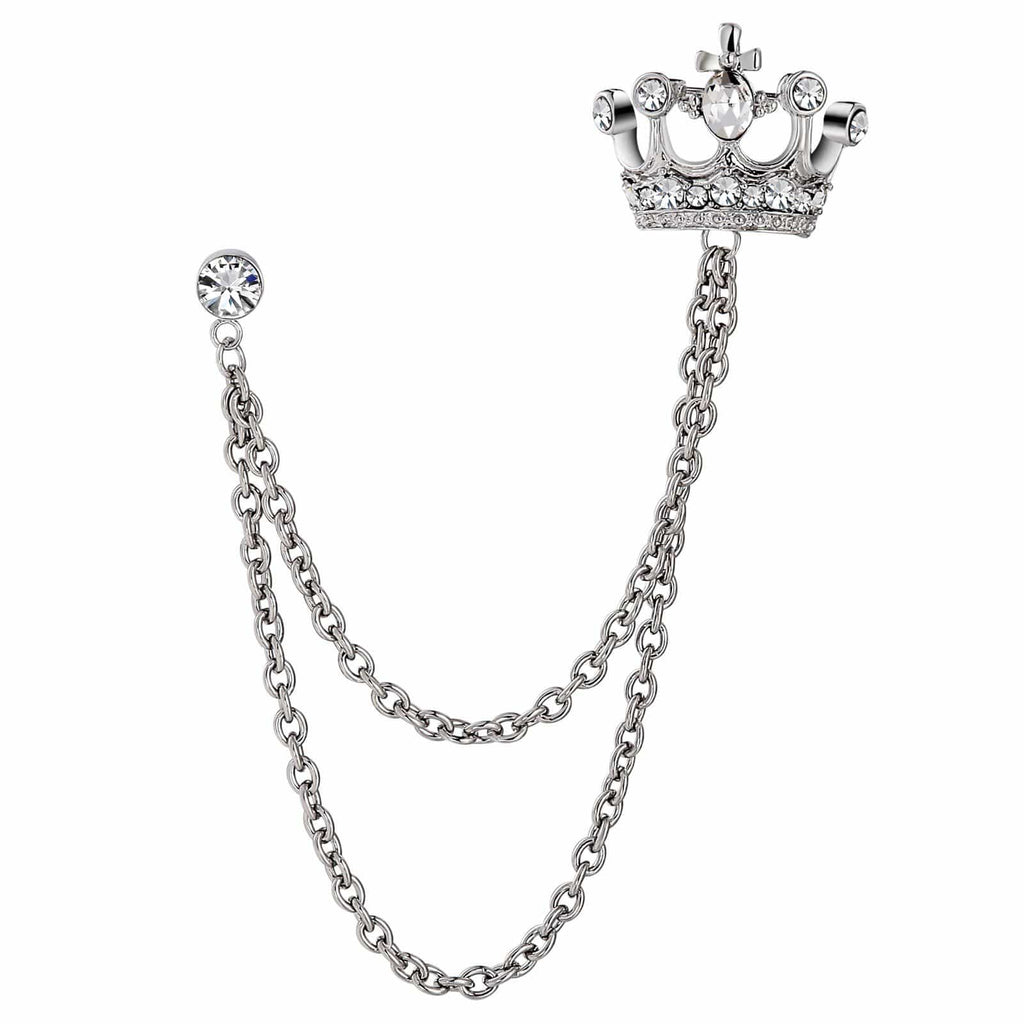 Stainless Steel Brooches For Women Crystal Crown Shape Silver