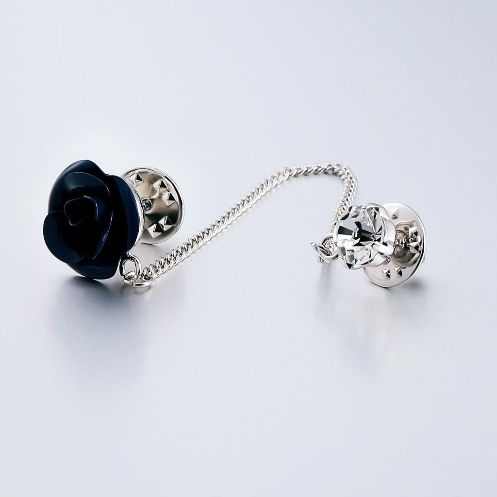 Stainless Steel Brooches For Women Crystal Rose Shape Blue