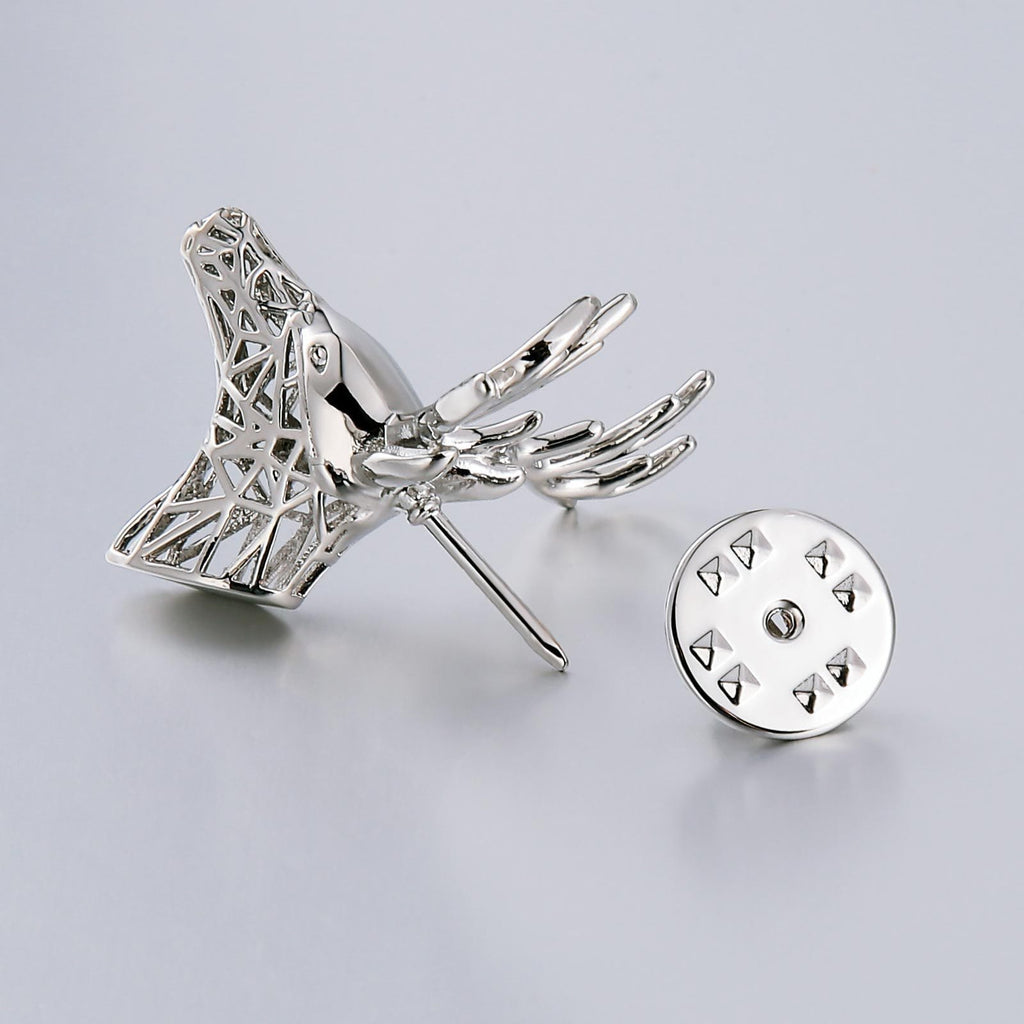 Stainless Steel Brooches For Women Sika Deer Shape Silver