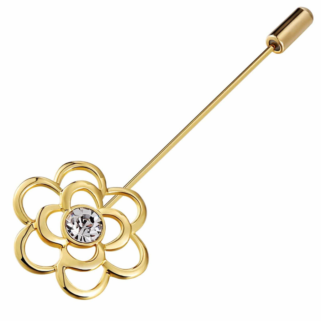 Stainless Steel Brooches For Women Crystal Flower Hollow Gold