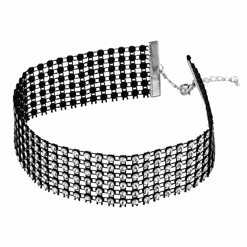 Chokers for Girls Black Choker Collar Rhinestone Hollow Crystal Link Black White - AnaDx