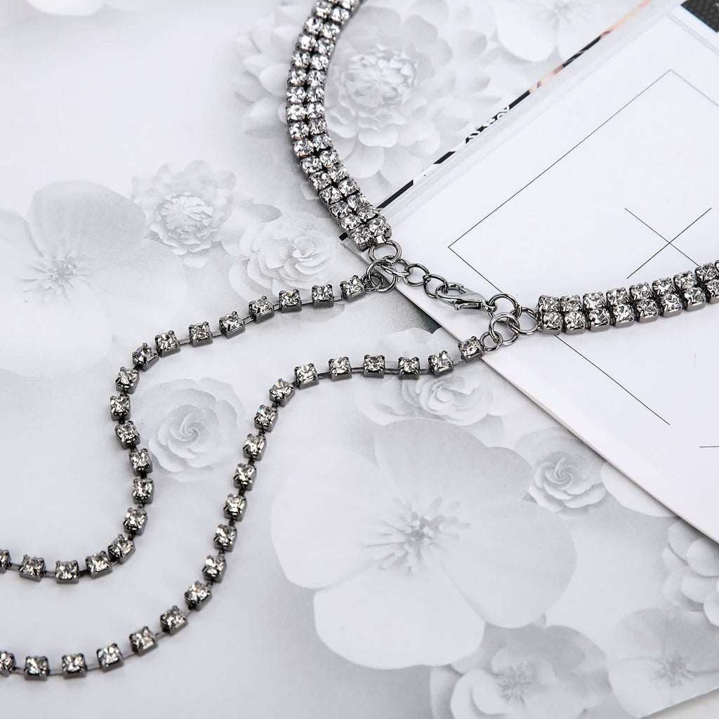 Womens Lace Choker Black Choker Chain Double Row Cubic Zirconia Charm Silver - AnaDx