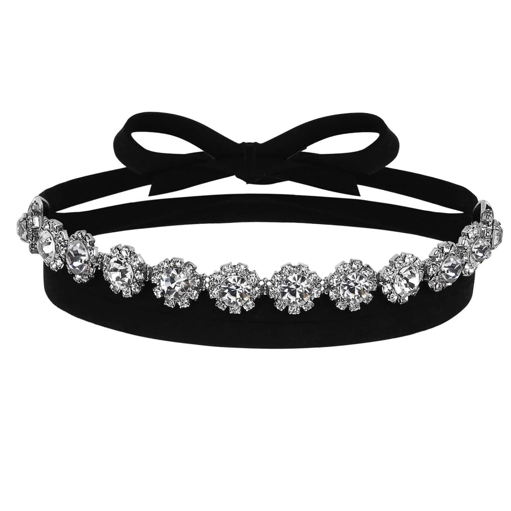 Chokers Jewelry Chokers and Charms Velvet Gorgeous Crystal Flower Black Silver - AnaDx