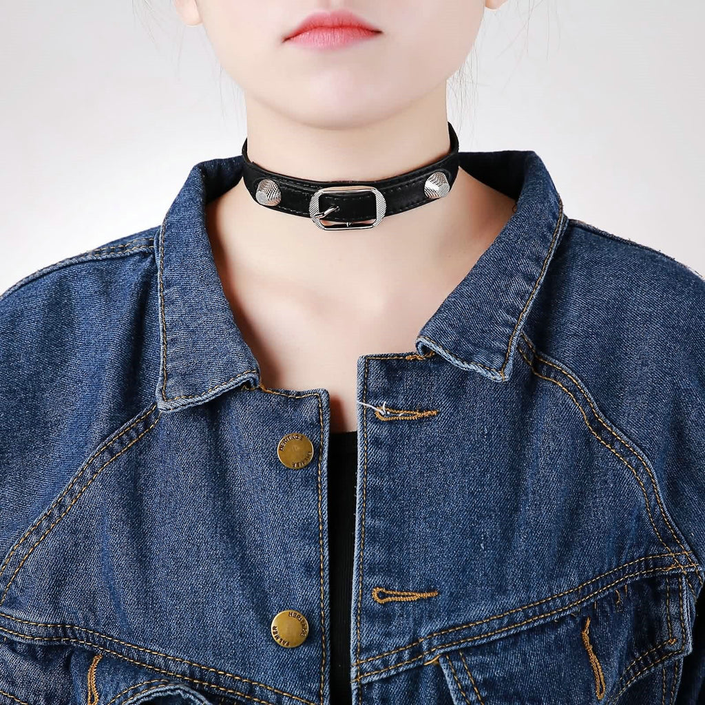 Chokers Necklaces Black Choker Necklace Leather Gothic Style Belt ShapeRivet Black Silver - AnaDx