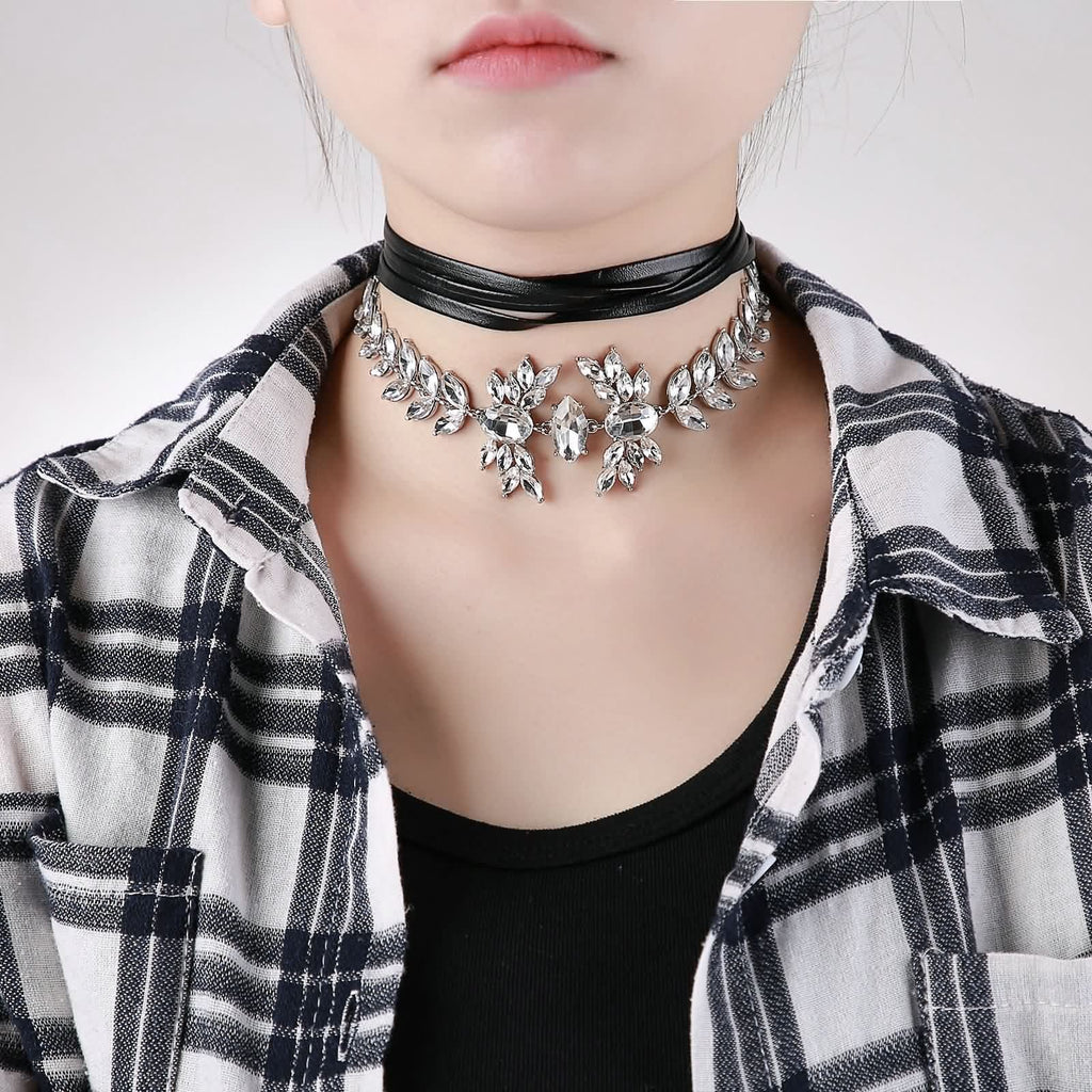 Choker for Girls Black Choker With Pendant Leather Charm Leaf Design CZ Black White - AnaDx