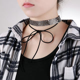 Chokers Leather Chokers and Charms Velvet 4 Rows Square Link Classic Black Silver 33.3+4.5CM - AnaDx
