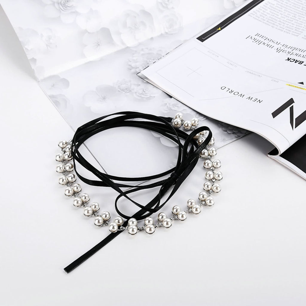 Chokers Necklaces Gold Layered Choker Leather Elegant Natural Freshwater Pearl Chunky Black White - AnaDx