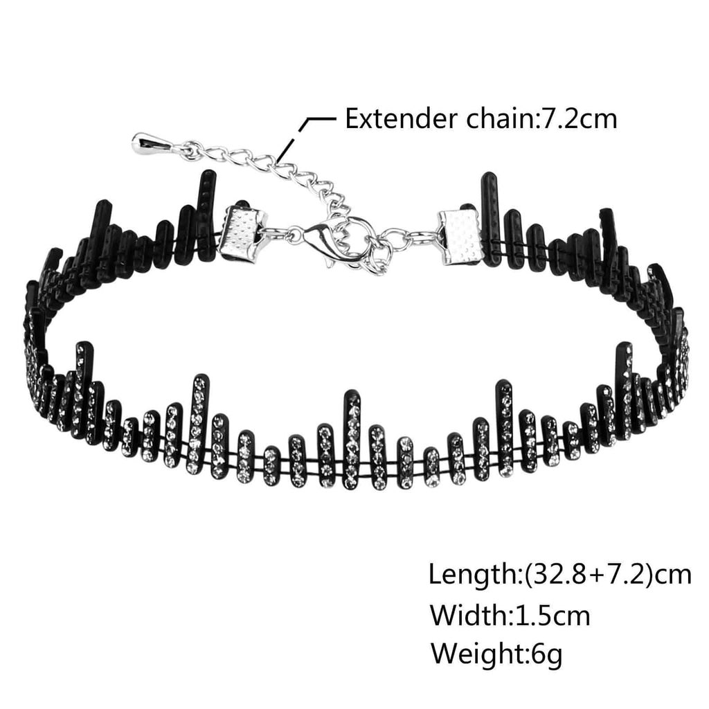 Choker Necklaces Choker Chain Necklace Cubic Zirconia Bar Double Layer Black White - AnaDx