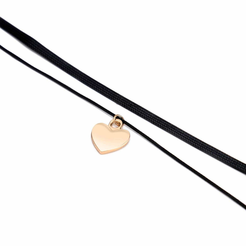 Chokers Black Chokers and Charms Leather Smooth Surface Heart Black Gold Len 32+7.2 CM - AnaDx
