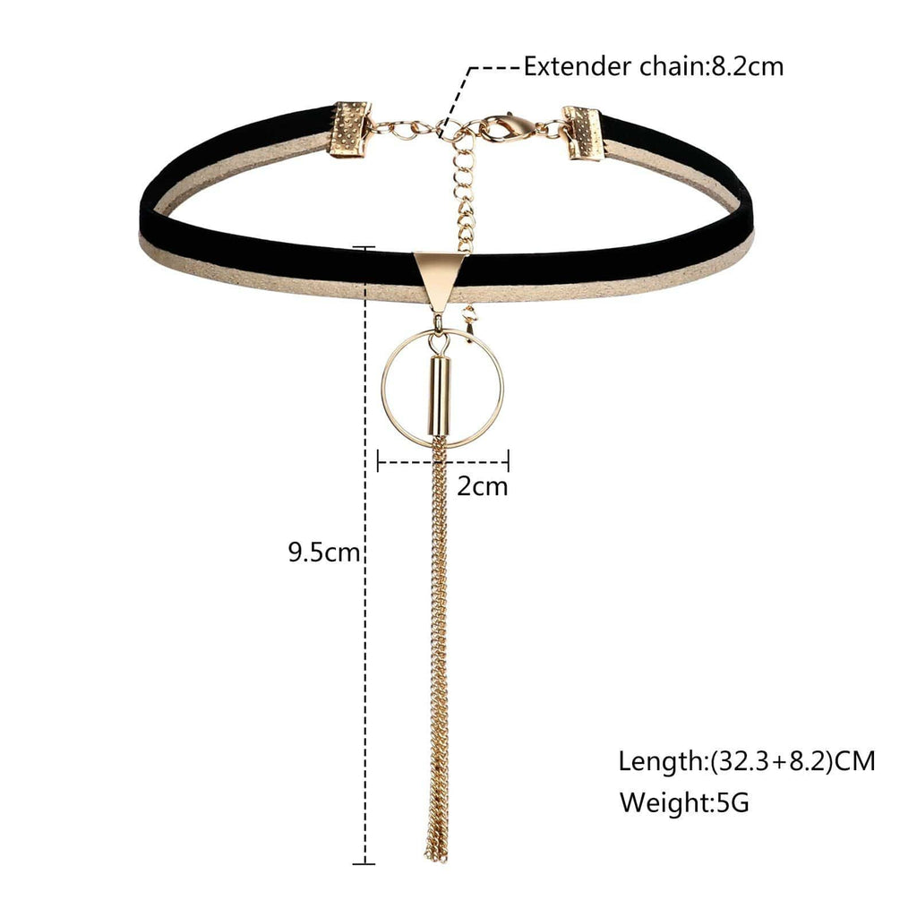 Black Choker Diy Double Layer Chain Choker Leather Round Tassel Gold Black Len 32.3+8.2 CM - AnaDx