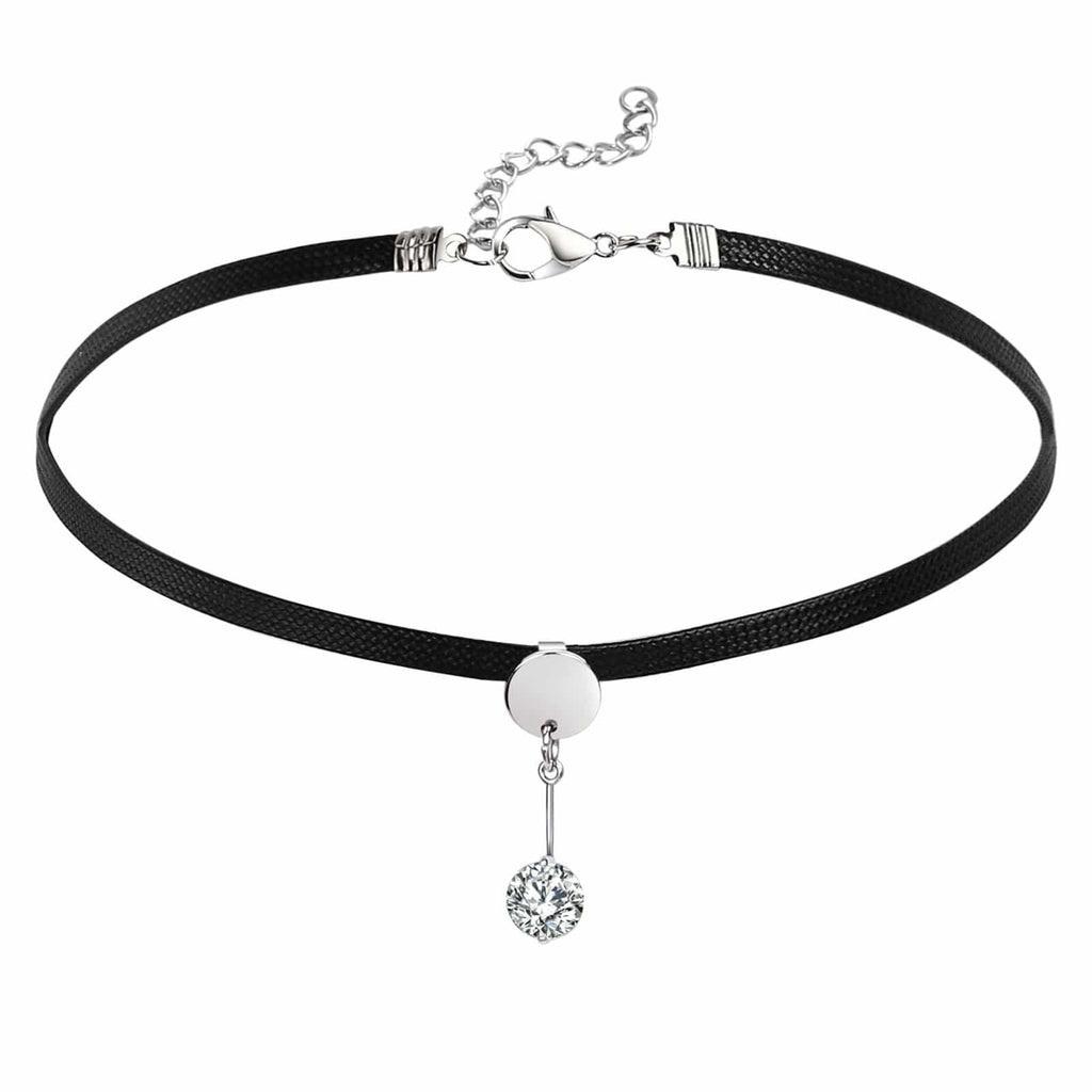 Chokers Leather Womens Jewellery Choker Necklace Crystal Smooth Surface Round Black Silver Len 34.9+5.5 CM - AnaDx