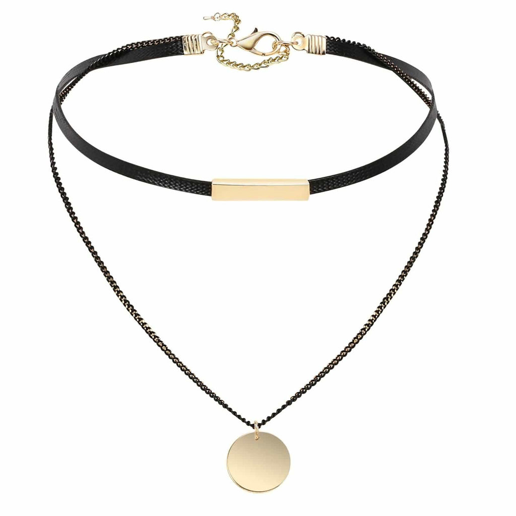 Choker Chain Womens Choker Collar Gothic Circle Black Gold Rope Leather Double Layers 33.3+7.8CM - AnaDx