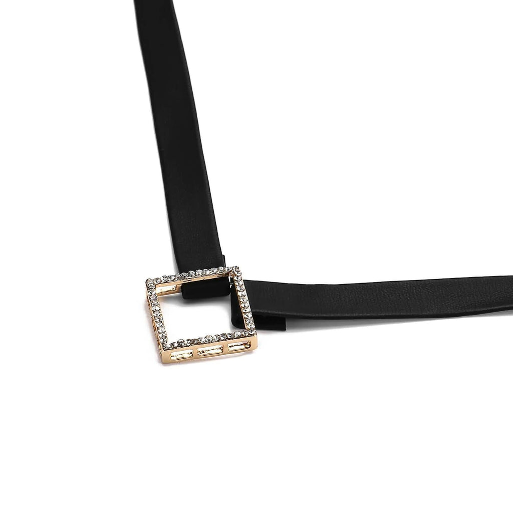 Choker for Girls Chokers and Charms PU Leather Hollow Square Crystal Paving Gold Black 30.7+6CM - AnaDx