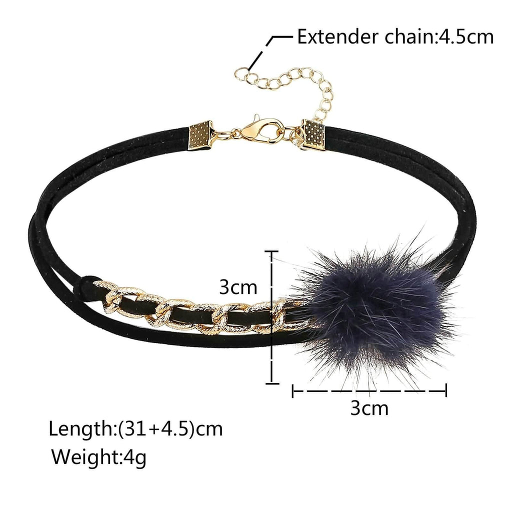 Choker Collar Black Choker Collar Velvet Fur Ball Pom Pom Metal Circle Weave Blue 31+4.5CM - AnaDx